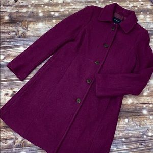 Lands End Boiled Wool walker Coat Plum sz 8